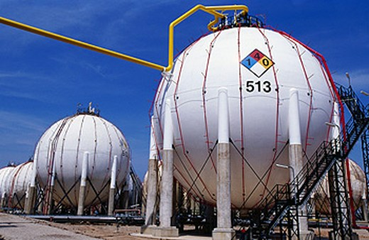 Gas tanks at Repsol-YPF oil refinery. Tarragona province. Spain : Stock Photo
