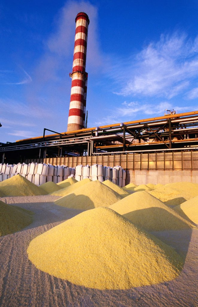 Sulphur depot at Repsol-YPF oil refinery. Tarragona province. Spain : Stock Photo