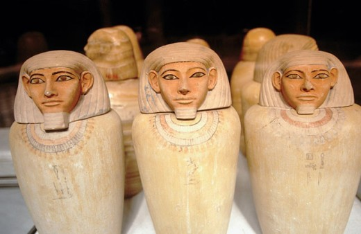 Canopic jars. Egyptian Museum. Egypt : Stock Photo