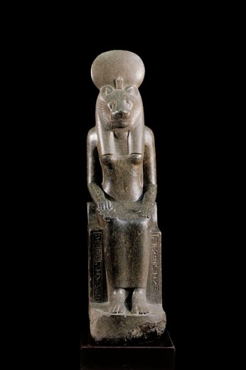 Stock Photo: 1566-063842 Statue of Sekhmet, a goddess of war and the destroyer of the enemies of the sun god Re in Egyptian religion. Egyptian Museum. Egypt