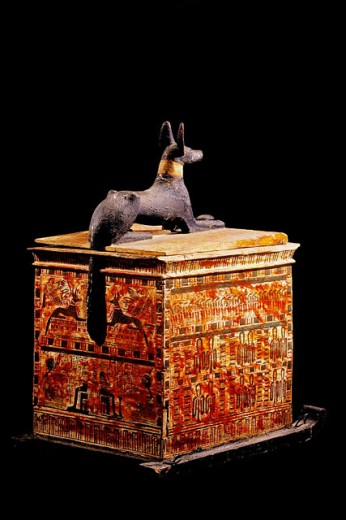 Stock Photo: 1566-063870 Canopic chest. Egyptian Museum. Egypt