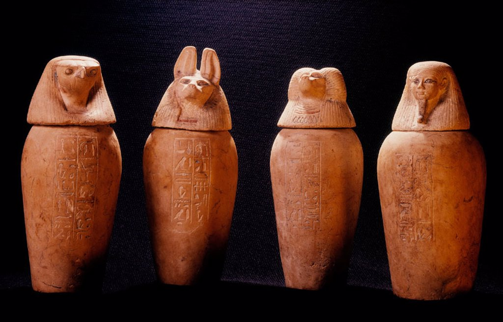 Stock Photo: 1566-063889 Canopic jars from the tomb of Psusennes at Tanis. Egyptian Museum. Egypt