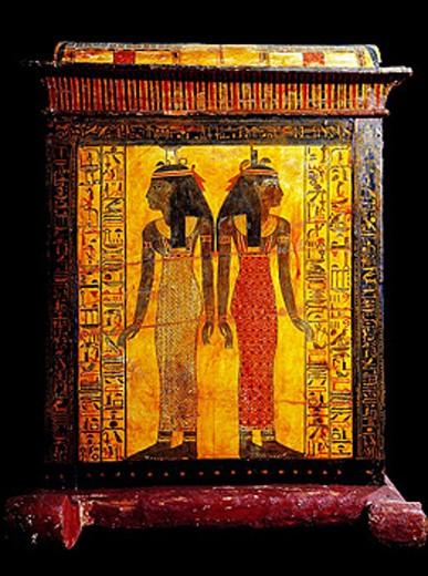 Stock Photo: 1566-063904 Sarcophagus of Khonsu, Son of Sennedjem. Egyptian Museum. Egypt