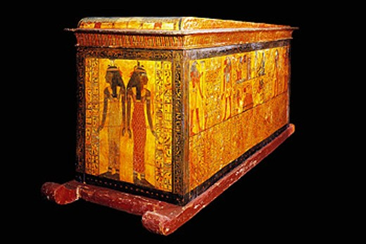 Stock Photo: 1566-063906 Sarcophagus of Khonsu, Son of Sennedjem. Egyptian Museum. Egypt