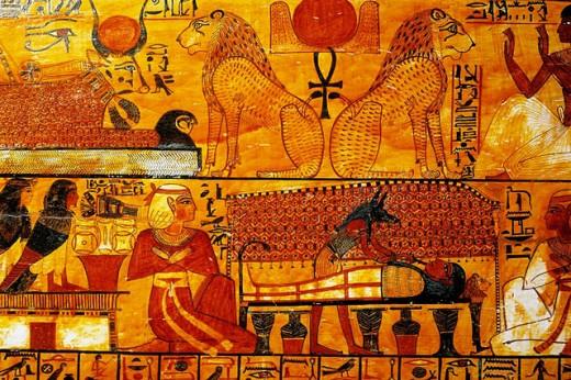 Sarcophagus of Khonsu, Son of Sennedjem. Egyptian Museum. Egypt : Stock Photo