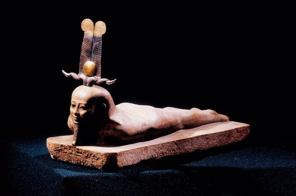 Stock Photo: 1566-063914 Statue of Osiris lying, 26th dynasty. Egyptian Museum. Egypt
