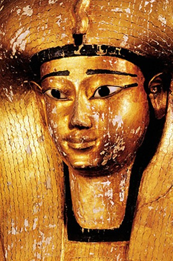 Detail of coffin of queen Ahhotep, 17th dynasty. Egyptian Museum. Egypt : Stock Photo