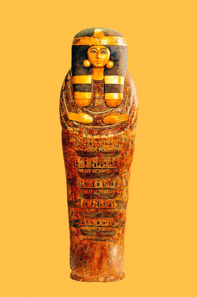 Coffin of princess, 26th dynasty. Egyptian Museum. Egypt : Stock Photo