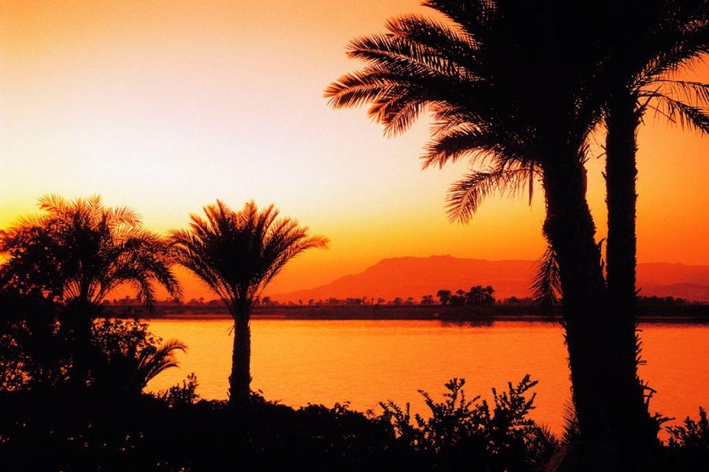 Sunset on Nile River at Luxor. Egypt : Stock Photo
