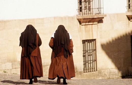 Nuns at Ronda. Málaga province. Spain : Stock Photo