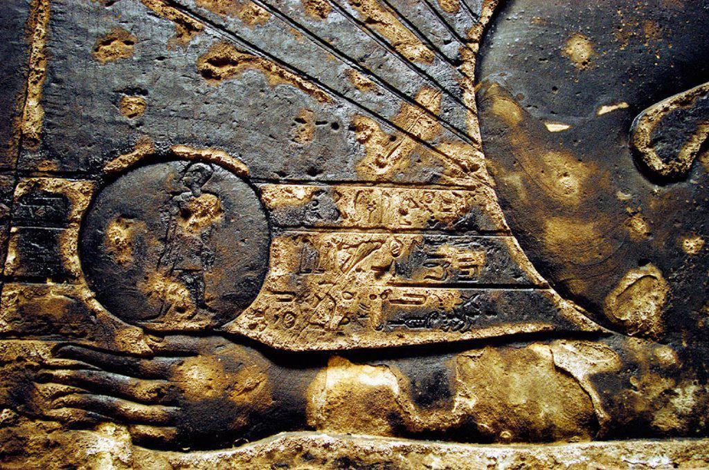 Detail of ceiling at temple of Hathor. Dandarah, Egypt : Stock Photo