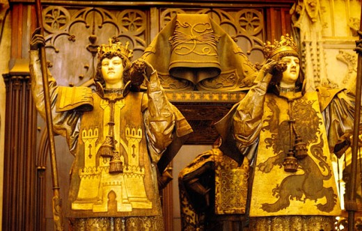 Detail of tomb of Christopher Columbus in the cathedral. Sevilla. Spain : Stock Photo