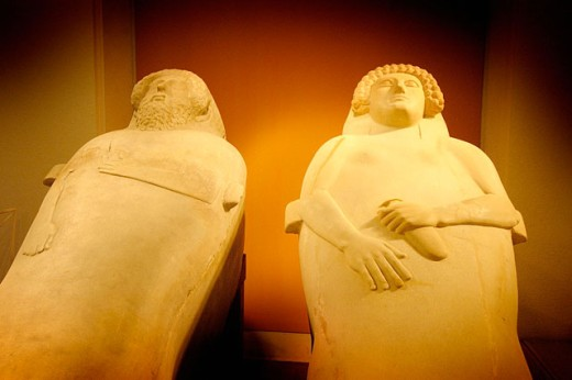 Phoenician sarcophagi at museum. Cádiz, Spain : Stock Photo