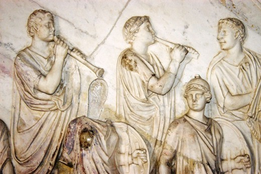 Roman frieze, musicians. Casa de Pilatos. Sevilla, Spain : Stock Photo