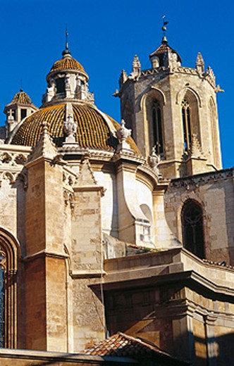 Tower bell and dome. Cathedral of Santa Maria, also dedicated to Santa Tecla. Tarragona. Catalonia. Spain : Stock Photo
