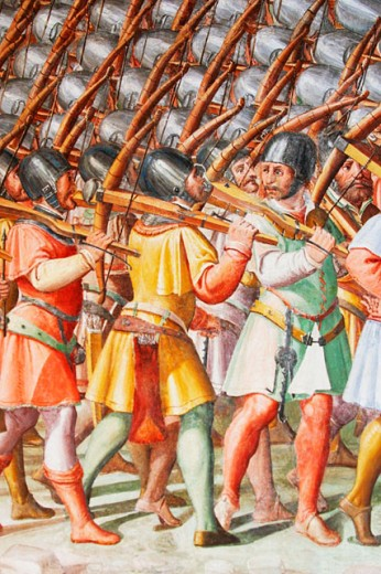 Section of mural, frescoes at the Hall of Battles. Escorial Monastery. Madrid. Spain : Stock Photo