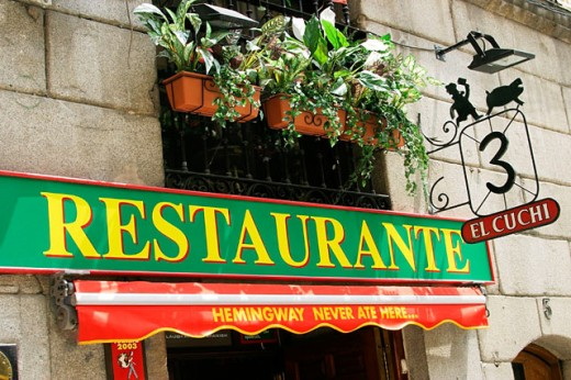 ´El Cuchi´ restaurant sign. Madrid. Spain : Stock Photo
