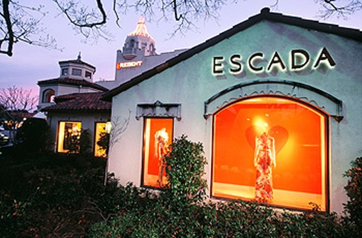 USA. Texas. Dallas. Highland Park Village. Built in 1931, Village Theater Escada at dusk. : Stock Photo