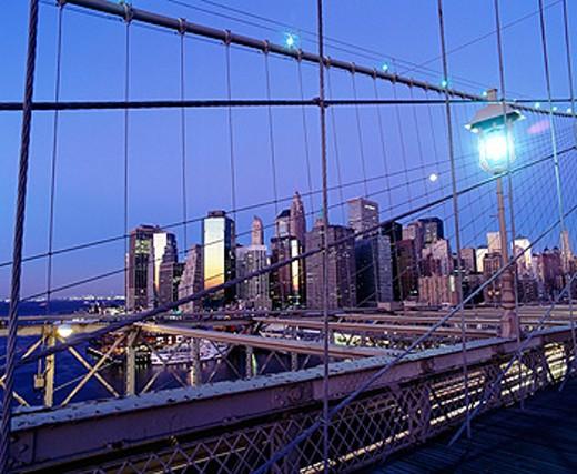 Brooklyn bridge, downtown Manhattan. New York City. USA : Stock Photo