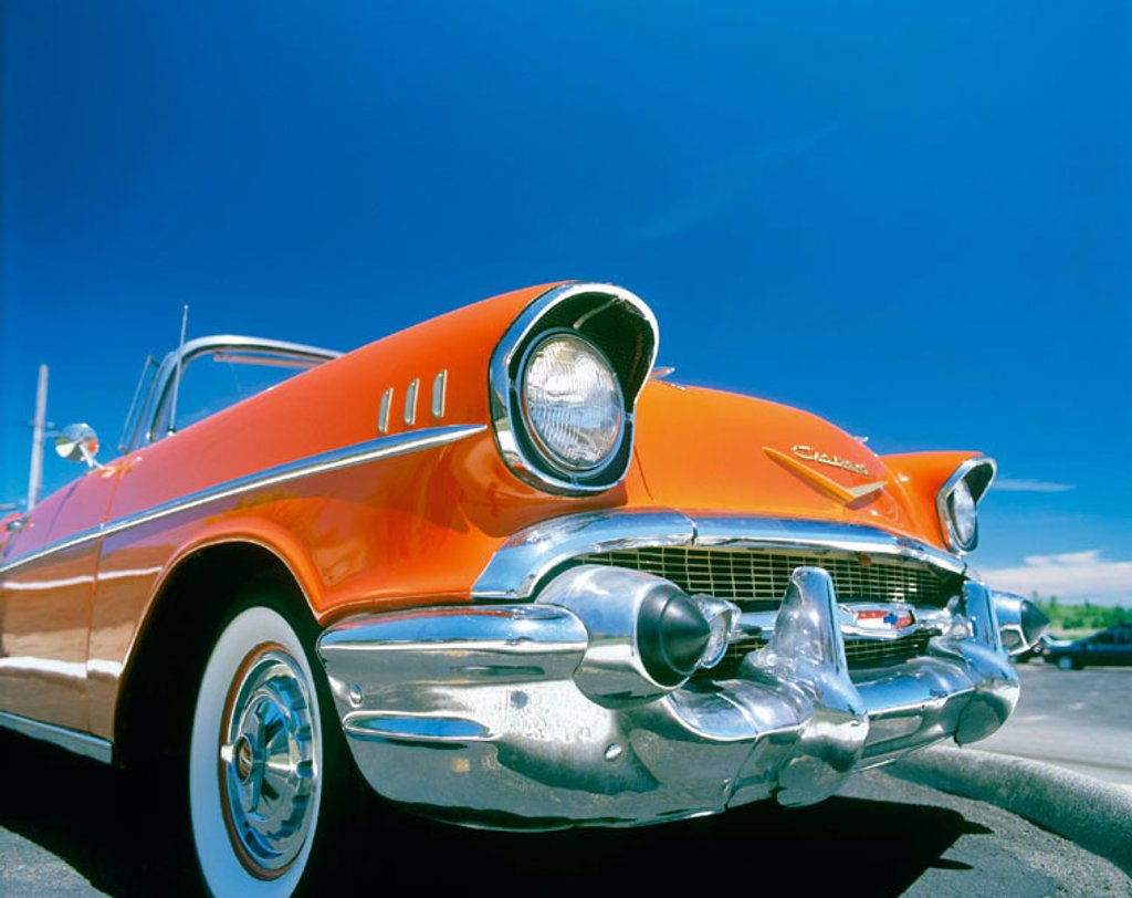 Stock Photo: 1566-068856 Red 1957 Chevrolet Belair convertible car