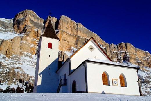 Santa Croce church (built 1484) and Sasso della Croce (2907 mt.). Val Badia. Trentino-Alto Adige. Italy : Stock Photo