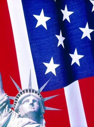 Statue of Liberty and US Flag : Stock Photo