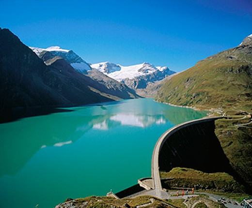 Stock Photo: 1566-070325 Mooserboden Dam. Kaprun Valley, Austrian Alps. Austria