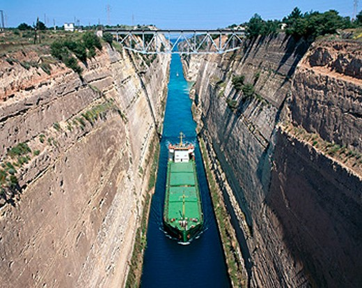 Corinth Canal, between mainland and the Peloponnese. Greece : Stock Photo