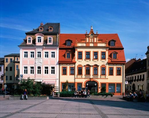 Civil houses at square. Borna. Germany : Stock Photo