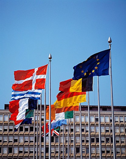 International flags at European Center. Luxembourg : Stock Photo