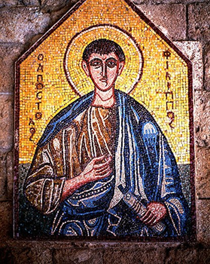 Stock Photo: 1566-070868 Greece, Rhodes, Dodecanese, Ialysos, Filerimos Mountain, Church of the Order of St. John, wall mosaic