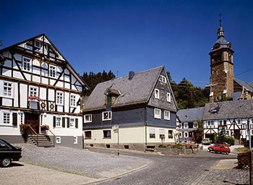 Germany. Neunkirchen, Siegerland, Sauerland, North Rhine-Westphalia, church, Ermert House, half-timbered : Stock Photo