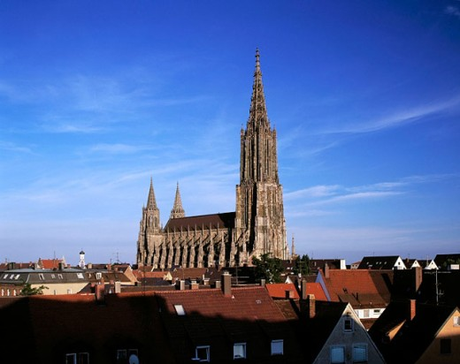 Germany, Ulm, Baden-Württemberg, Gothic Cathedral, view across the city roofs church tower, one of the highest in the world (528 ft [161 m]) : Stock Photo