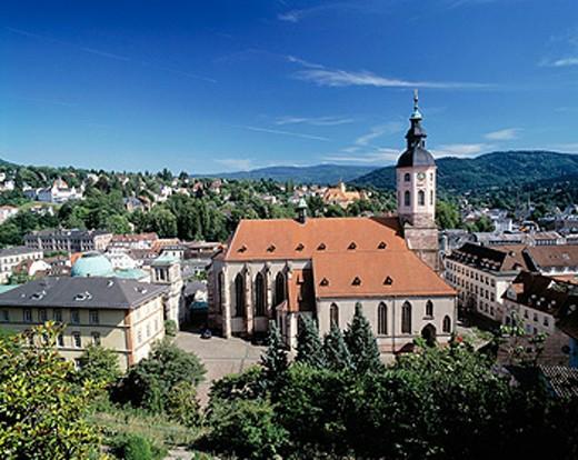 Germany, Baden-Baden, Upper Rhine, Black Forest, Baden-Württemberg, old city, collegiate church : Stock Photo