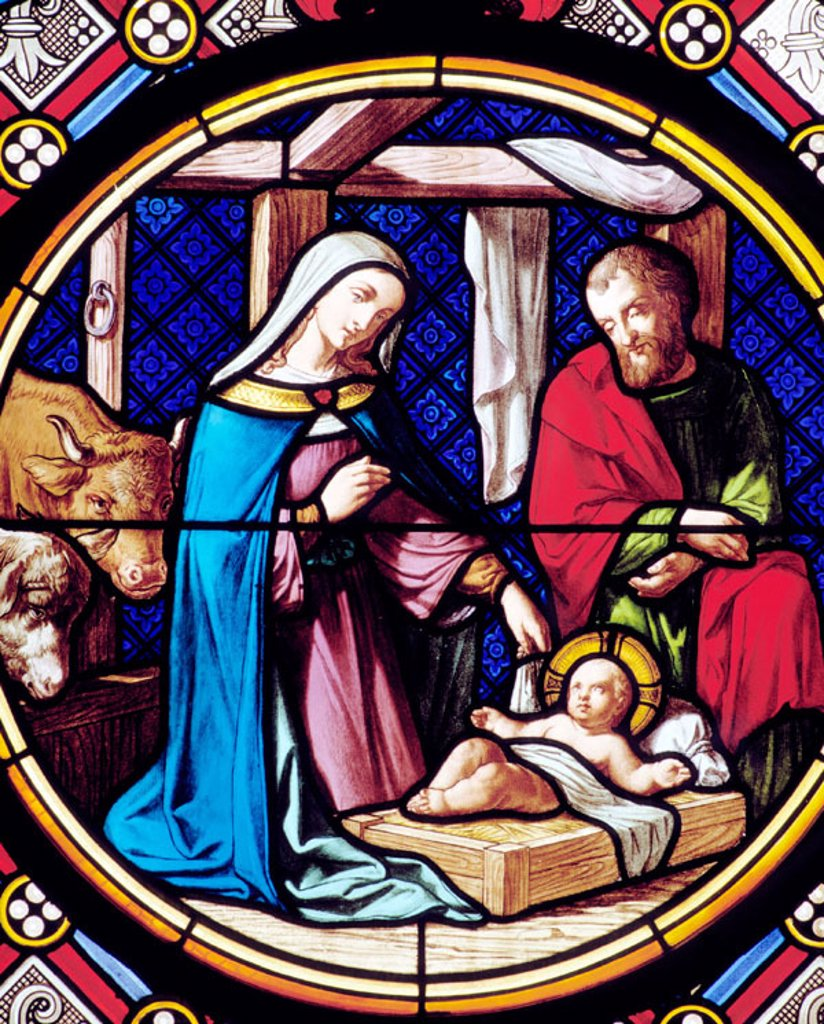 Stock Photo: 1566-071640 Nativity, glass window. Gothic-style Münster. Basel. Switzerland