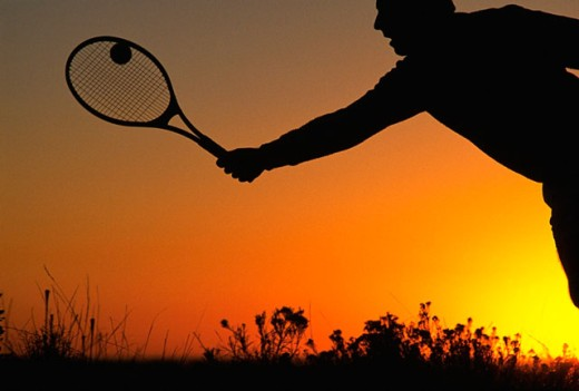 Stock Photo: 1566-07187 Playing tennis