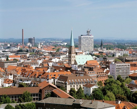 Germany, Bielefeld, North Rhine-Westphalia, city panorama, Nikolai Church, administration building Deutsche Telekom, high-rise : Stock Photo