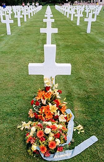 France. Calvados. War landing beaches. Colleville-sur-Mer. Omaha beach. American cemetery. : Stock Photo