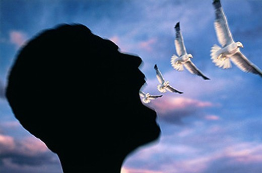 Symbols of freedom and flying come from man´s mouth : Stock Photo