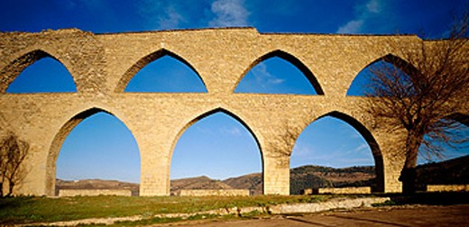 Gothic aqueduct. Morella. Castellón province, Spain : Stock Photo