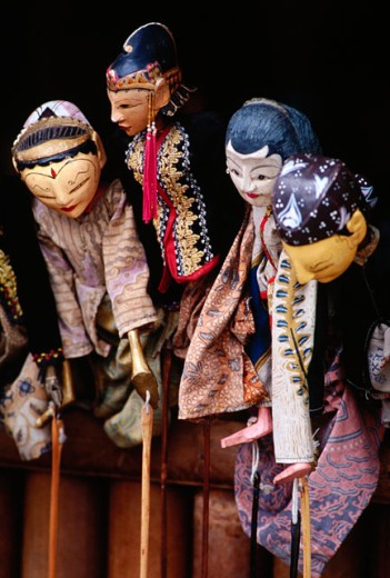 Javanese three-dimensional wooden puppets used in Wayang Golek (classical puppet drama). Yogyakarta. Java. Indonesia : Stock Photo