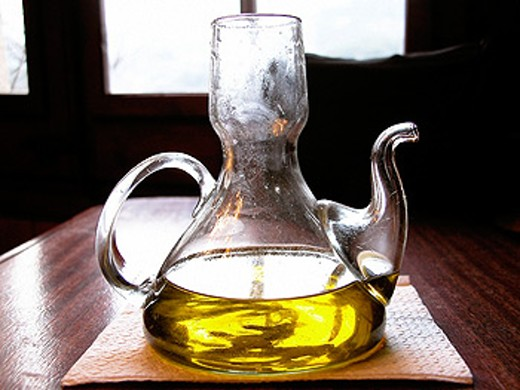Cruet, olive oil : Stock Photo