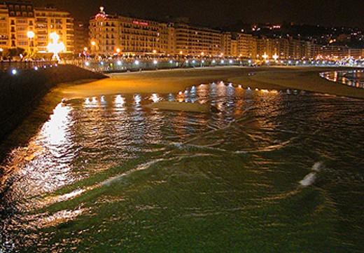 San Sebastian (Donostia) by night. Basque country. : Stock Photo
