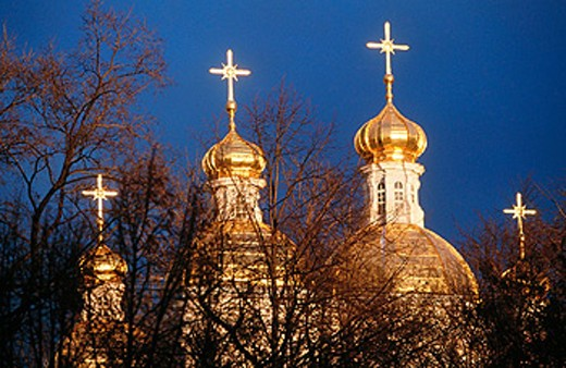 Domes of the Naval St. Nicholas Cathedral of the Epiphany. St. Petersburg. Russia : Stock Photo