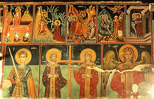 Frescoes in the Church of the Archangel Saint Michael, post-byzantine style (16th Century). Galata. Cyprus : Stock Photo