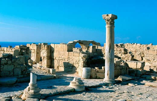 Stock Photo: 1566-078888 Early Christian basilica at Kourion archeological site. Cyprus