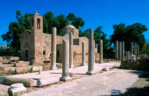 Early Christian basilica ruins and Panayia Chrysopolitissa church. Paphos. Cyprus : Stock Photo