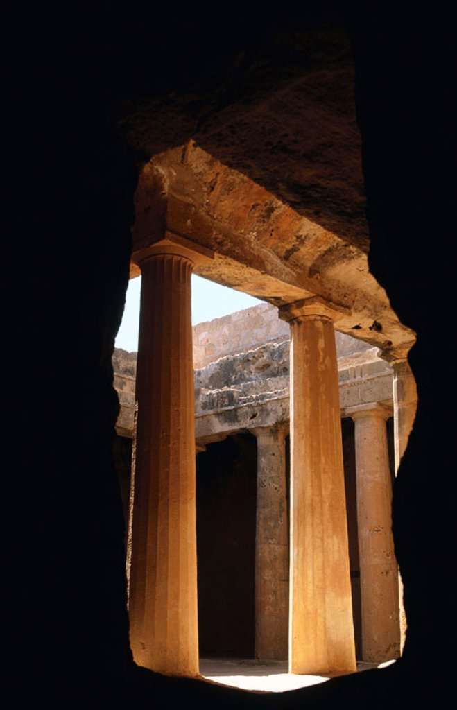 Tombs of the Kings, Hellenistic necropolis (4th century BC). Paphos. Cyprus : Stock Photo