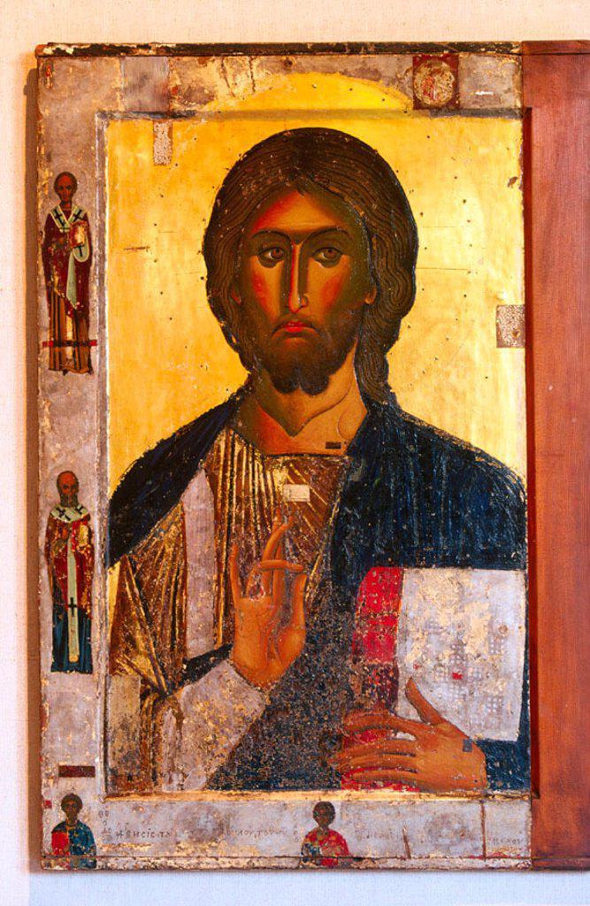 Stock Photo: 1566-078908 Pantocrator in the Byzantine Art Museum. Nicosia. Cyprus