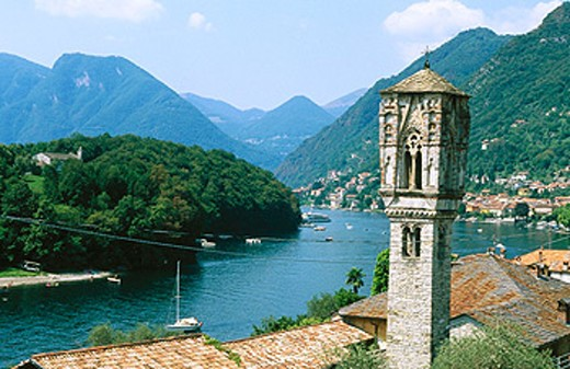 Tower of the Church Santa Maria Maddalena in Ossuccio. Lake Como. Lombardy, Italy : Stock Photo